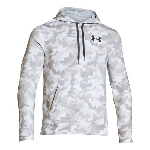 Mens Under Armour Rival Cotton Novelty Hoody Outerwear Jackets - White/Black M