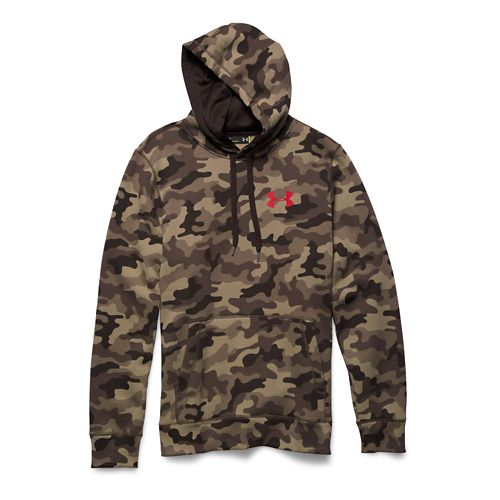 Mens Under Armour Rival Cotton Novelty Hoody Outerwear Jackets - Canvas/Red M