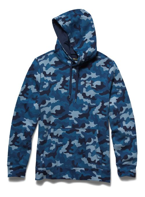 Mens Under Armour Rival Cotton Novelty Hoody Outerwear Jackets - Petrol Blue/Academy M