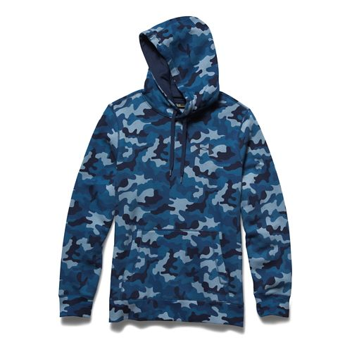 Mens Under Armour Rival Cotton Novelty Hoody Outerwear Jackets - Petrol Blue/Academy L