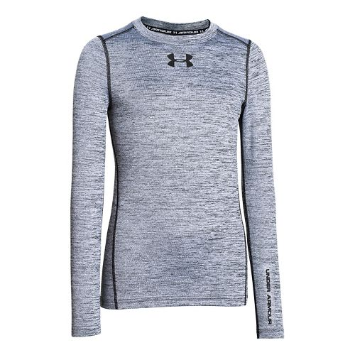 Kids Under Armour ColdGear Armour Twist Crew Long Sleeve No Zip Technical Tops - White/Black ...