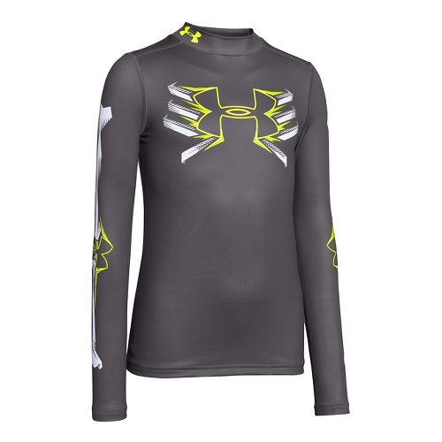 Under Armour Boys Bone Cold ColdGear Mock Long Sleeve No Zip Technical Tops - Graphite/White ...