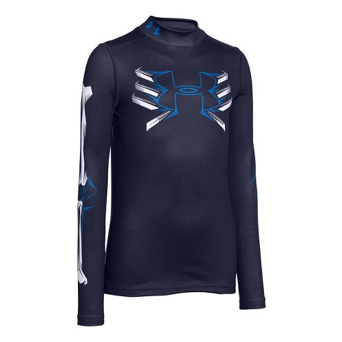 Kids Under Armour Bone Cold ColdGear Mock Long Sleeve No Zip Technical Tops - Midnight ...