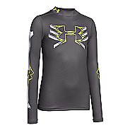 Kids Under Armour Bone Cold ColdGear Mock Long Sleeve No Zip Technical Tops