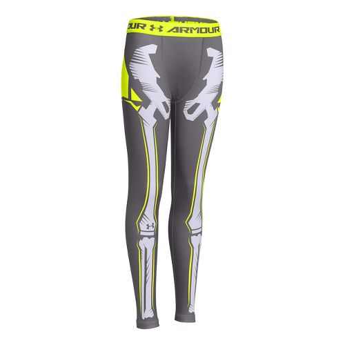 Kids Under Armour Bone Cold ColdGear Legging Full Length Tights - Graphite/White YXL