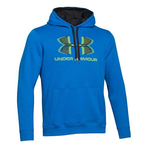 Mens Under Armour Rival Cotton Sportstyle Hoody Outerwear Jackets - Blue Jet/Black S