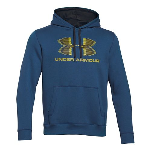 Mens Under Armour Rival Cotton Sportstyle Hoody Outerwear Jackets - Petrol Blue/Black L