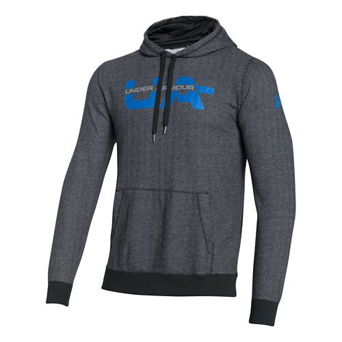 Mens Under Armour Rival Cotton Novelty Graphic Hoody Outerwear Jackets - Heather/Blue Jet XXL
