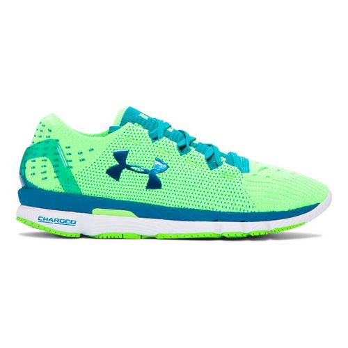 Womens Under Armour Speedform Slingshot Running Shoe - Lime/Teal 10