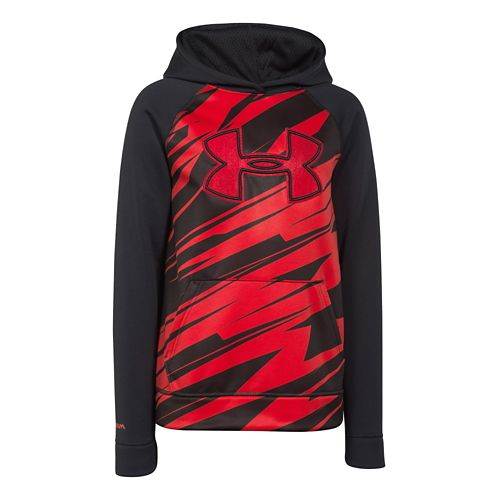 Under Armour Boys Storm Fleece Printed Big Logo Warm Up Hooded Jackets - Black/Risk Red ...