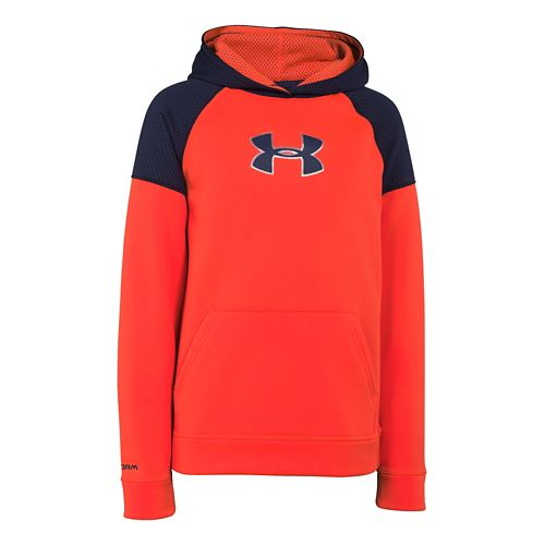 Kids Under Armour Storm Fleece Jacquard Long Sleeve Hooded Technical Tops - Bolt Orange/Blue YM ...