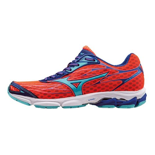 Womens Mizuno Wave Catalyst Running Shoe - Coral/Capri/Blue 7.5