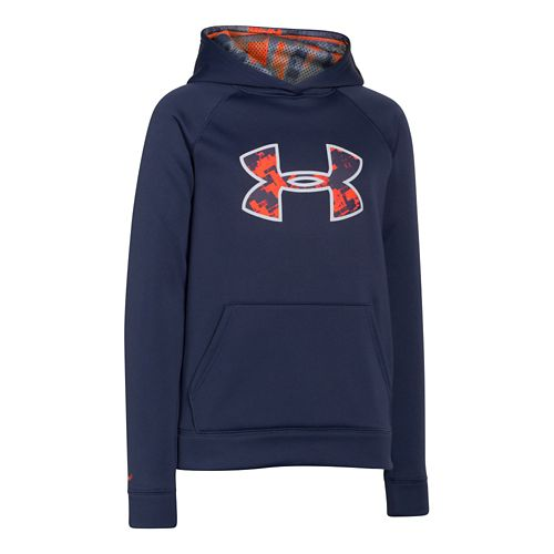 Kids Under Armour Fleece Storm Big Logo Long Sleeve Hooded Technical Tops - Blue Knight/Orange ...