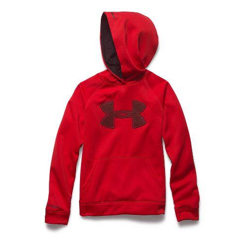 Kids Under Armour Fleece Storm Big Logo Long Sleeve Hooded Technical Tops - Risk Red/Black ...