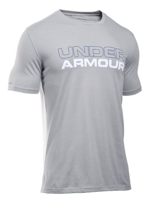 Mens Under Armour Wordmark Tee Short Sleeve Technical Tops - Heather/White XL