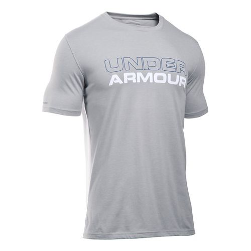 Mens Under Armour Wordmark T Short Sleeve Technical Tops - Heather/White L
