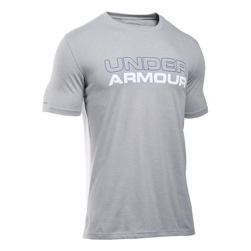 Mens Under Armour Wordmark Tee Short Sleeve Technical Tops - Heather/White XXL