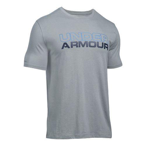 Mens Under Armour Wordmark Tee Short Sleeve Technical Tops - Grey Heather/Navy L