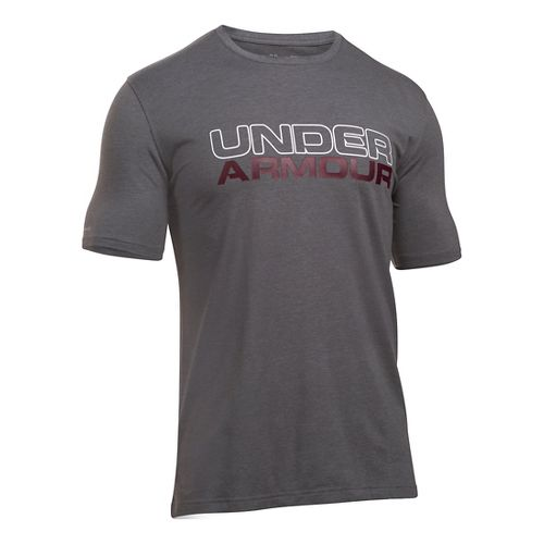 Mens Under Armour Wordmark Tee Short Sleeve Technical Tops - Carbon Heather/White 3XL