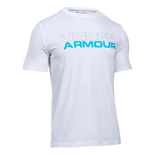 Mens Under Armour Wordmark Tee Short Sleeve Technical Tops - White/Overcast Grey 3XL