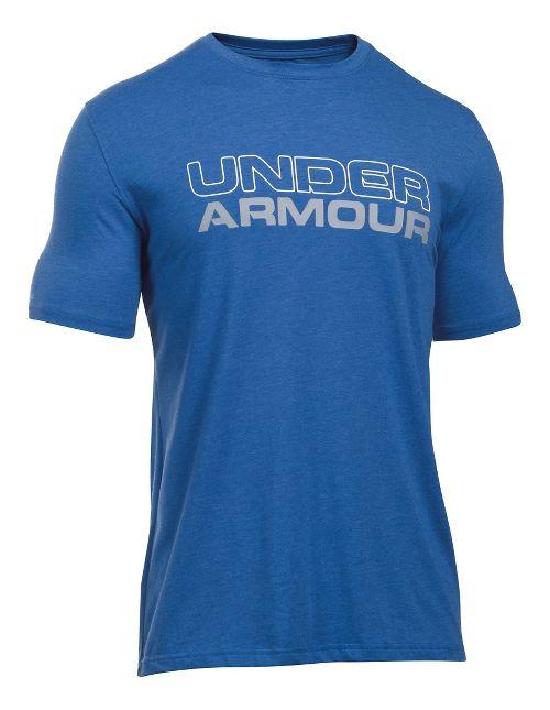 Mens Under Armour Wordmark Tee Short Sleeve Technical Tops - Royal/Steel XL