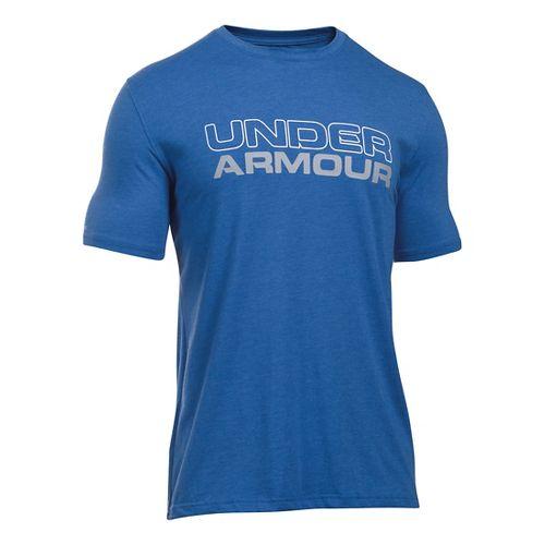 Mens Under Armour Wordmark T Short Sleeve Technical Tops - Royal/Steel XL