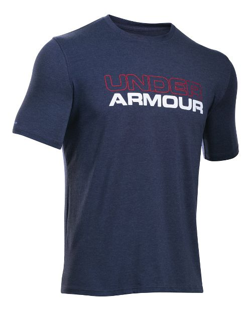 Mens Under Armour Wordmark Tee Short Sleeve Technical Tops - Midnight Navy/White M
