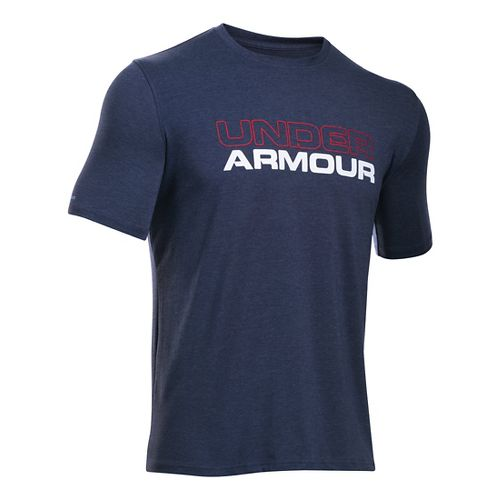 Mens Under Armour Wordmark T Short Sleeve Technical Tops - Midnight Navy/White L