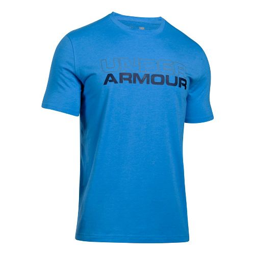 Mens Under Armour Wordmark Tee Short Sleeve Technical Tops - Stealth Grey/White L