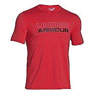 Mens Under Armour Wordmark Tee Short Sleeve Technical Tops - Red/Black XL