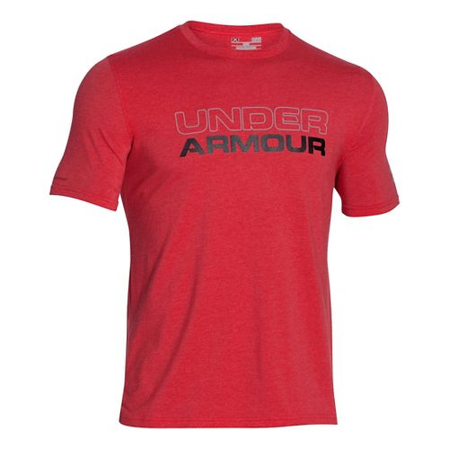 Mens Under Armour Wordmark Tee Short Sleeve Technical Tops - Red/Black 3XL