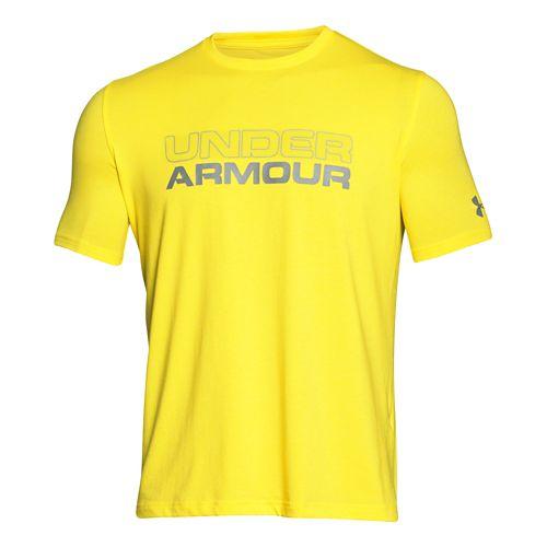 Mens Under Armour Wordmark T Short Sleeve Technical Tops - Sunbleached/Steel XXL