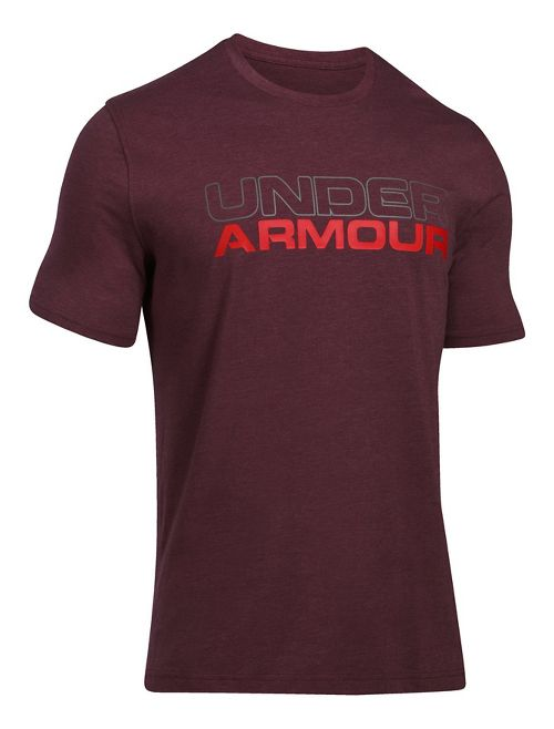 Mens Under Armour Wordmark Tee Short Sleeve Technical Tops - Midnight Navy/White XL