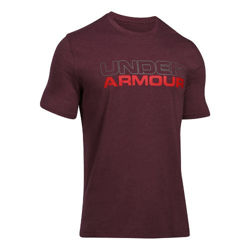 Mens Under Armour Wordmark Tee Short Sleeve Technical Tops - Carbon Heather/White S