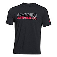 Mens Under Armour Wordmark T Short Sleeve Technical Tops