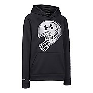 Kids Under Armour Storm Fleece Football Logo Long Sleeve Hooded Technical Tops