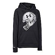 Kids Under Armour Storm Fleece Football Logo Long Sleeve Hooded Technical Tops