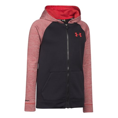 Kids Under Armour Storm Fleece Magzip Hoodie & Sweatshirts Technical Tops - Black/Risk Red YM ...