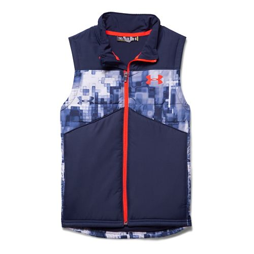 Kids Under Armour Future Chill Puffer Outerwear Vests - Blue Knight/Orange YL