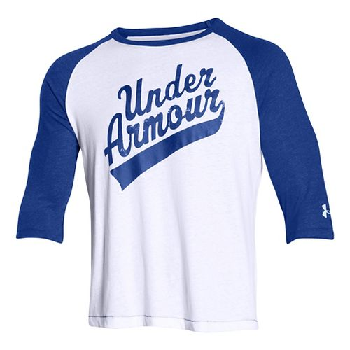 Mens Under Armour Script 3/4 Short Sleeve Technical Tops - White/Royal L