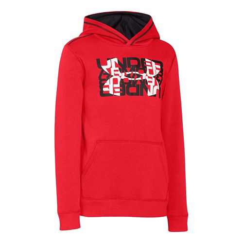 Kids Under Armour Rival Cotton Logo X 2 Long Sleeve Hooded Technical Tops - Risk ...