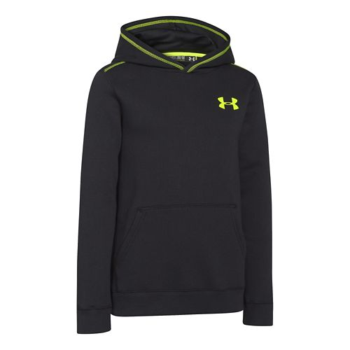 Under Armour Boys Rival Cotton Hoody Long Sleeve Hooded Technical Tops - Black/Yellow YL