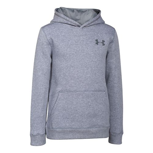 Kids Under Armour Rival Cotton Long Sleeve Hooded Technical Tops - True Grey Heather YL ...