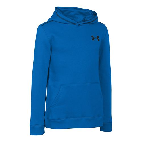 Kids Under Armour Rival Cotton Long Sleeve Hooded Technical Tops - Snorkel/Black YM