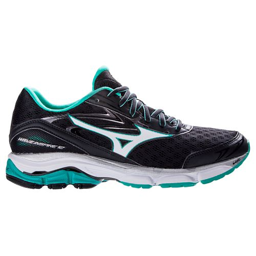Womens Mizuno Wave Inspire 12 Running Shoe - Black/Atlantis 6.5