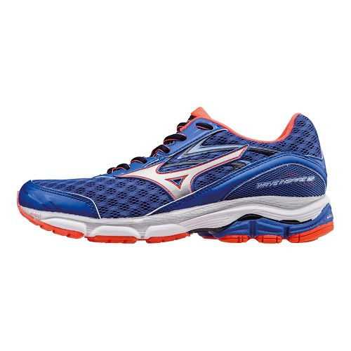 Womens Mizuno Wave Inspire 12 Running Shoe - Blue/Coral/White 10.5