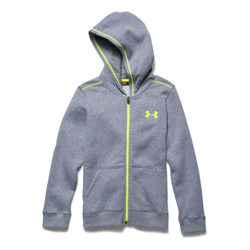 Kids Under Armour Rival Cotton Full Zip Warm Up Hooded Jackets - True Grey Heather ...