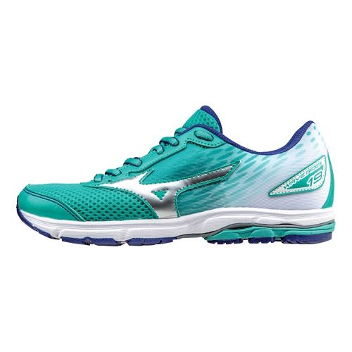 Kids Mizuno Wave Rider 19 Running Shoe - Atlantis/Silver 6Y
