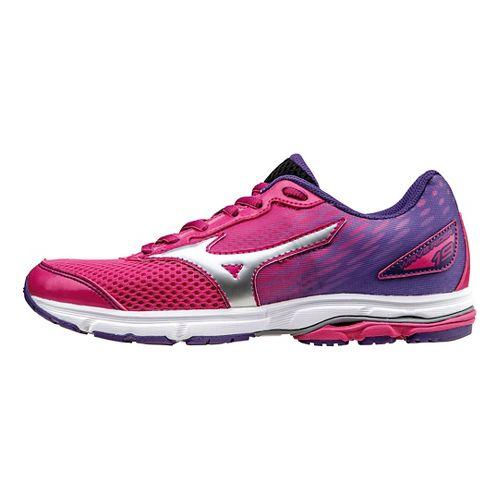 Kids Mizuno Wave Rider 19 Running Shoe - Pink/Purple 2Y