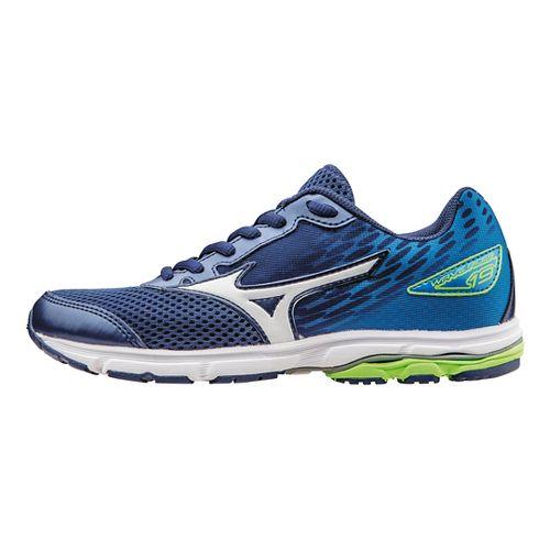 Kids Mizuno Wave Rider 19 Running Shoe - Blue/Green 4Y